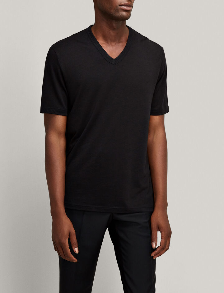 Joseph, V Neck Lyocell Jersey Tee, in BLACK