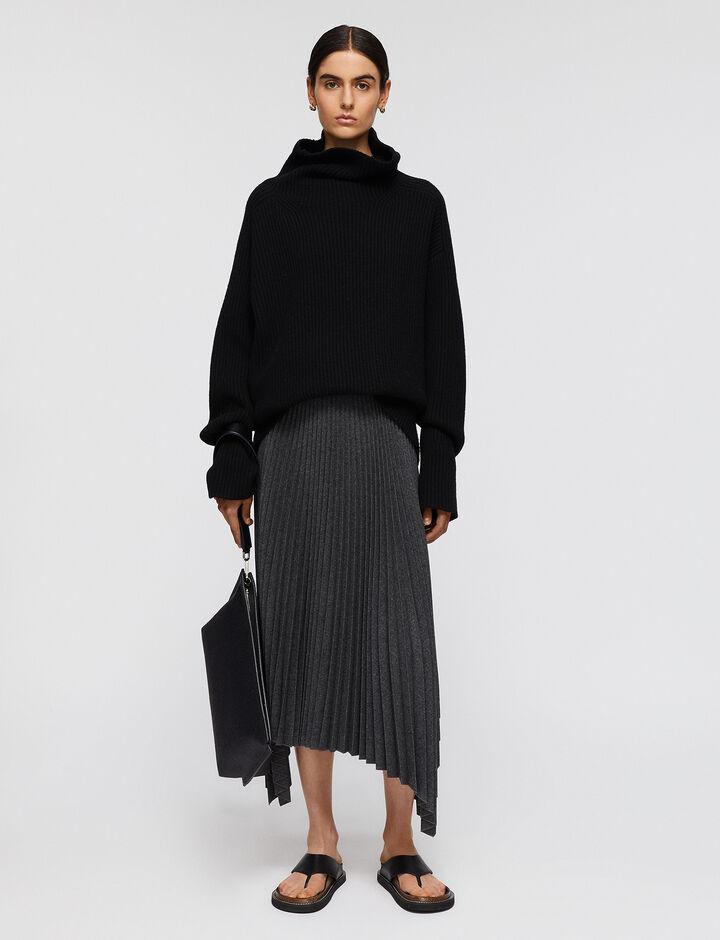 Joseph, Pleated Flannel Ade Skirt, in Graphite