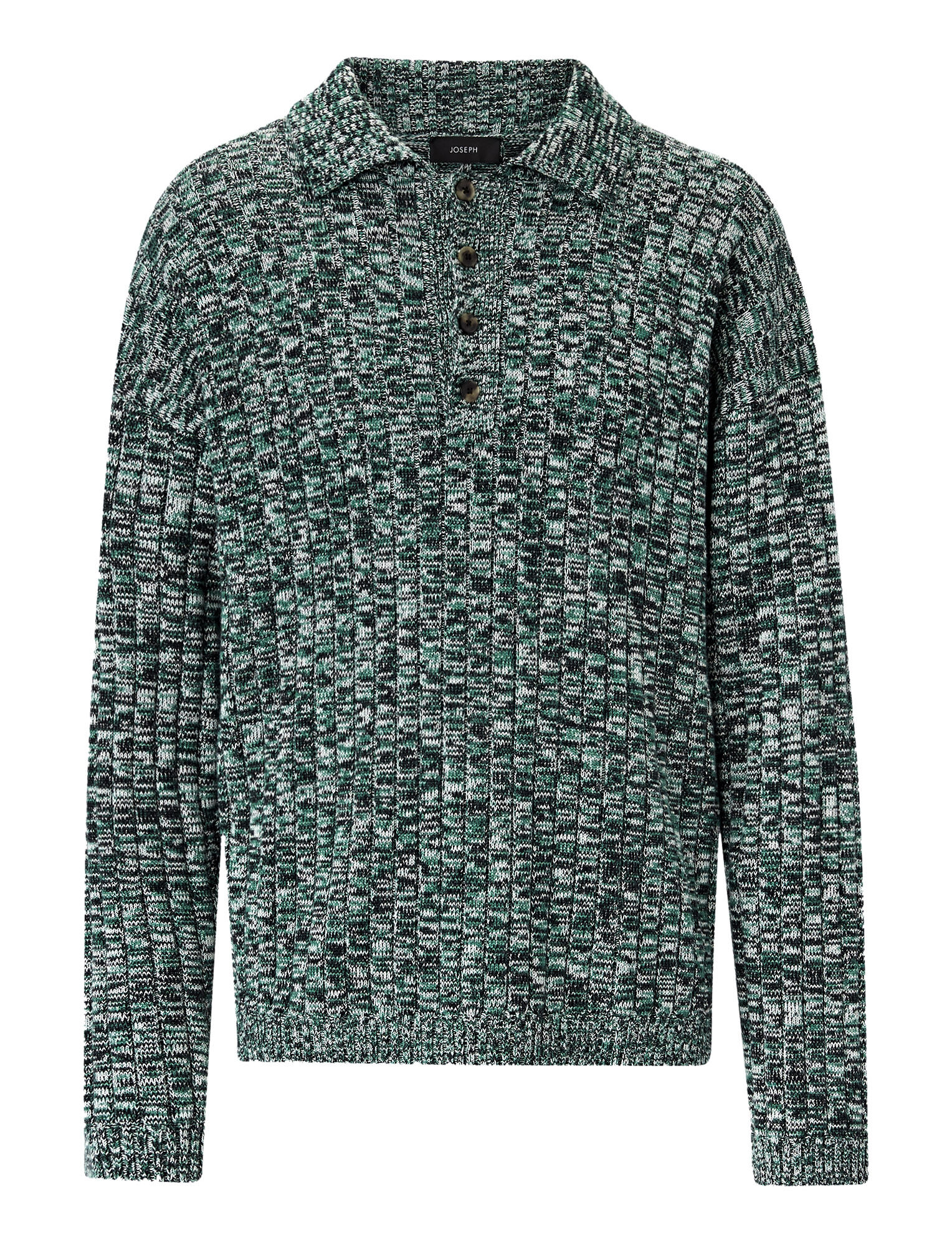 Joseph, Rib Polo Chunky Mouline Knit, in GREEN COMBO