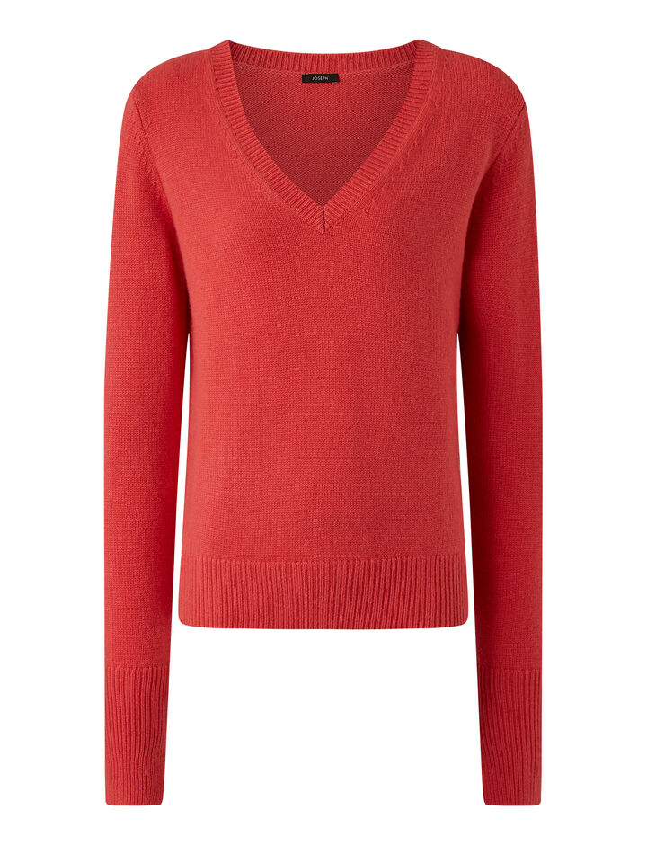 Joseph, V Nk Ls Pure Cashmere Knitwear, in Peony