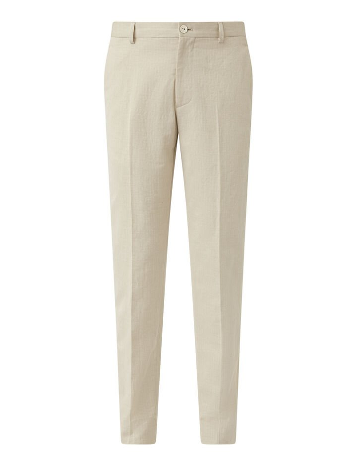 Joseph, Cotton Linen Dobby Jack Trousers, in ECRU