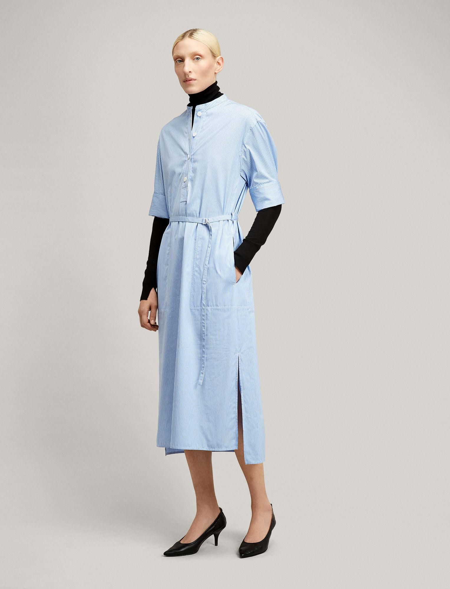 Joseph, Barker Pinstripe Mix Dress, in BLUE