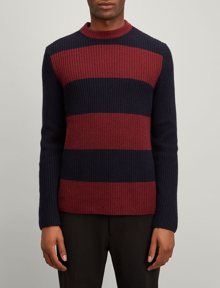 Joseph, Cardigan Cashmere Stripe Sweater, in NAVY/MORGON
