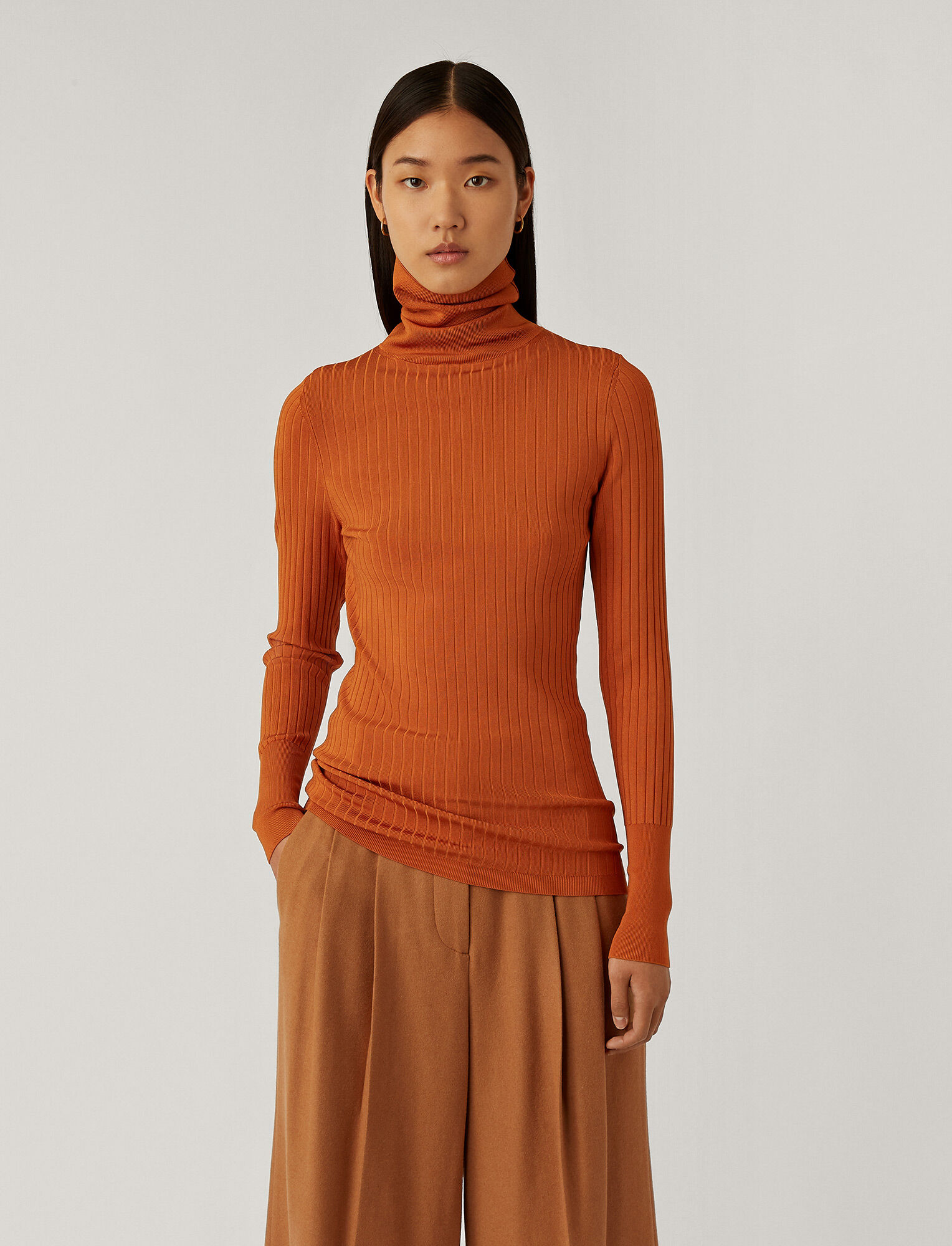 Joseph, High Neck Shiny Knit, in Sienna