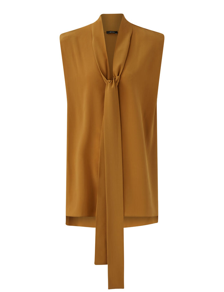 Joseph, New Crepe de Chine Batin Top, in OAK