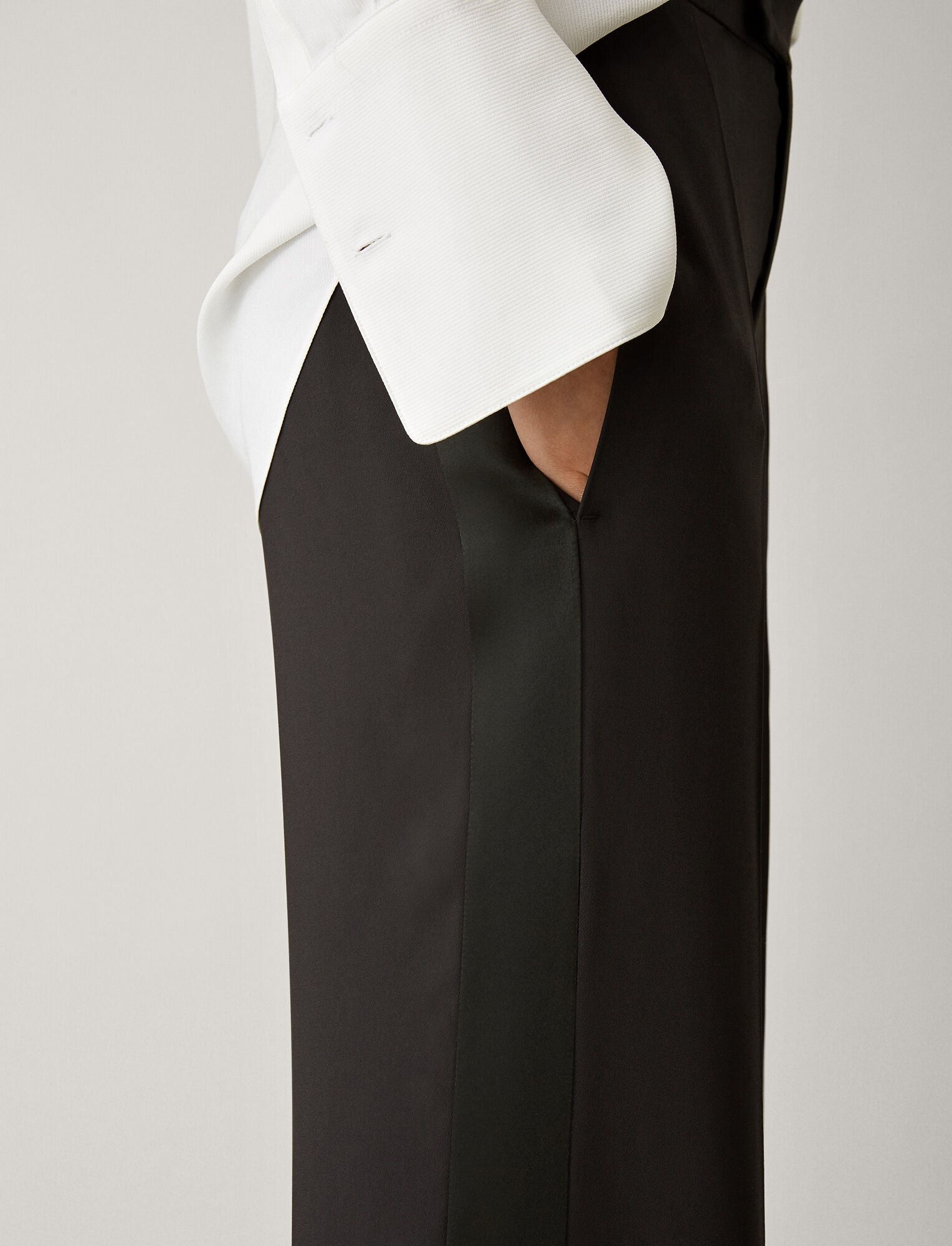 Joseph, Ferry Fluid Tuxedo Trousers, in BLACK