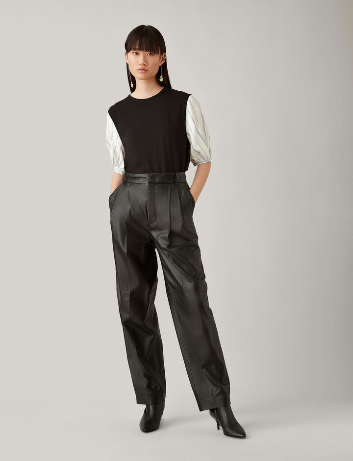 Joseph, Elbow Sl + Rayon Stripe Jersey, in BLACK