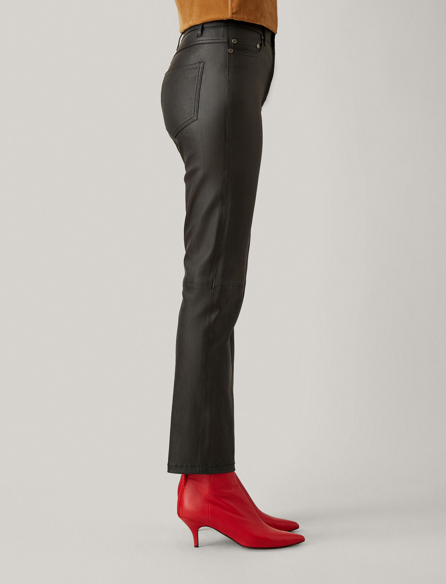 Joseph, Den Stretch Leather Trousers, in BLACK