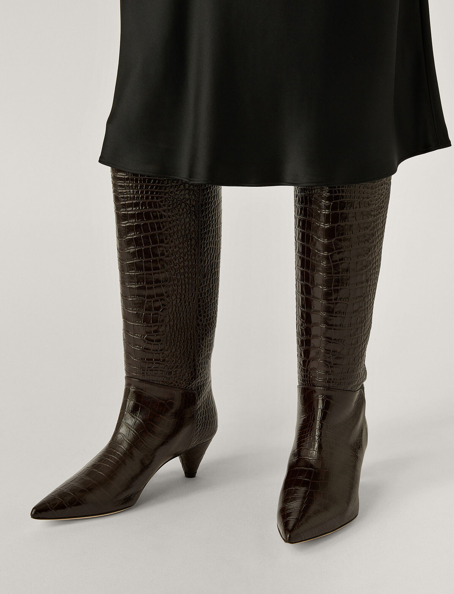 Joseph, Cone Heel Long Boots, in Chocolate