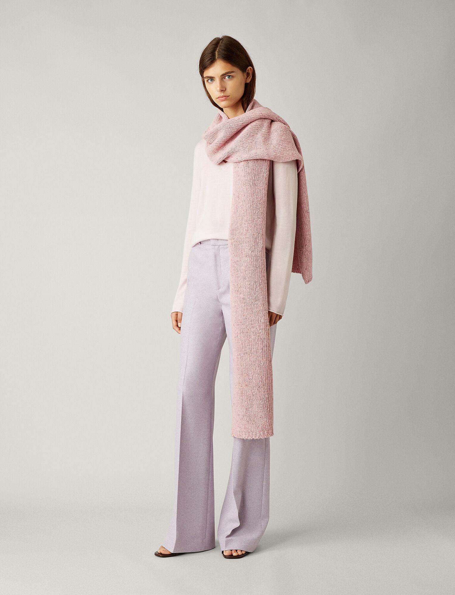 Joseph, Tweed Knit Scarf, in PINK