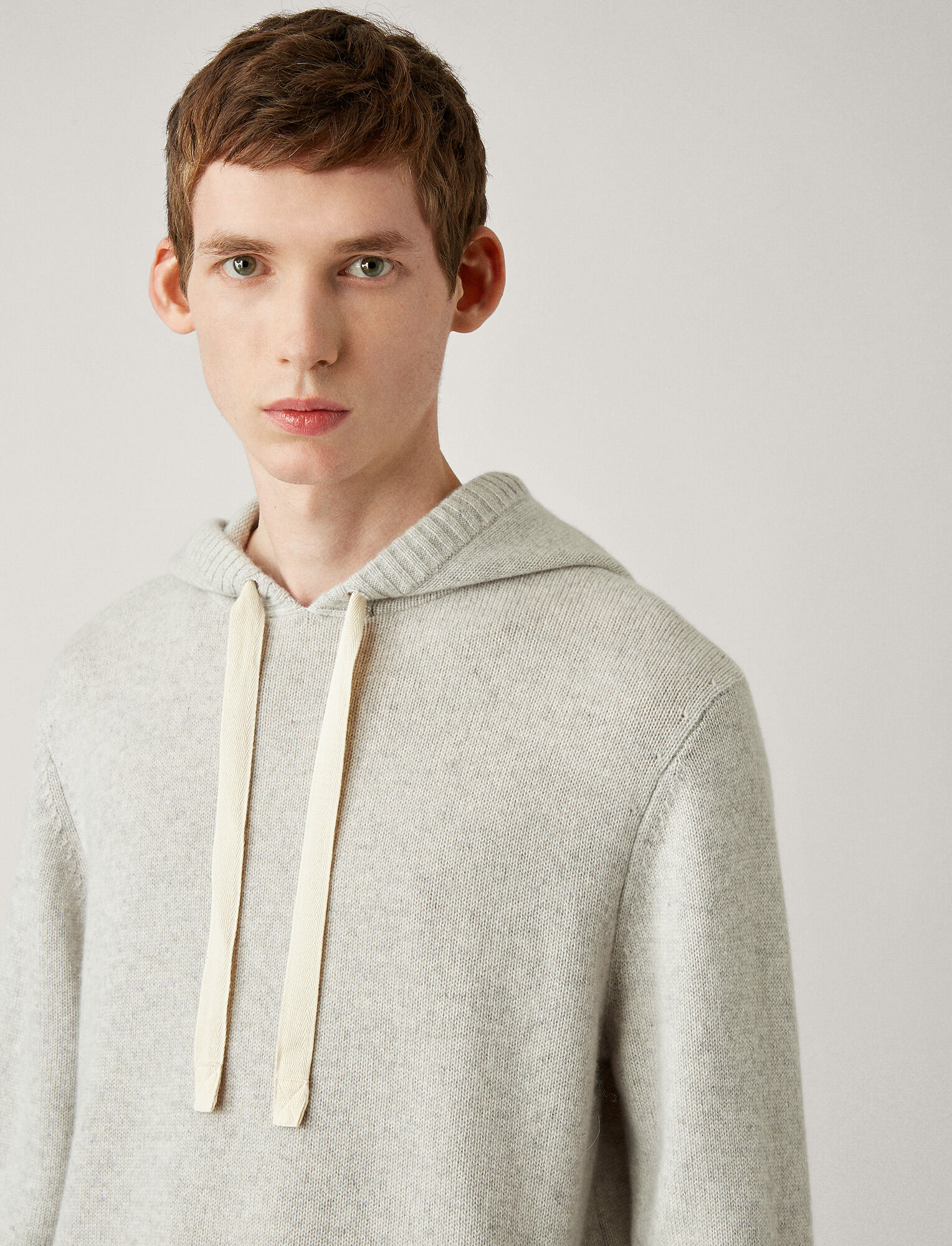 Joseph, Pure Cashmere Knit Hoody, in PEARL