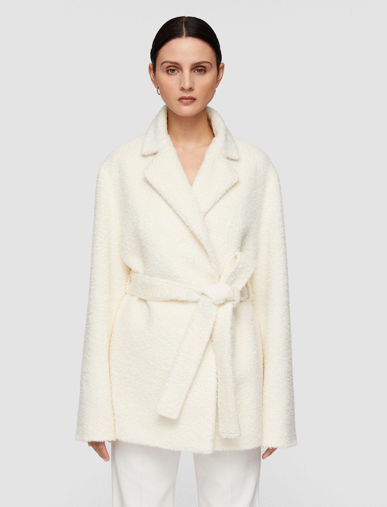 Joseph, Textured Wool Alpaca Cenda Coat, in Ecru