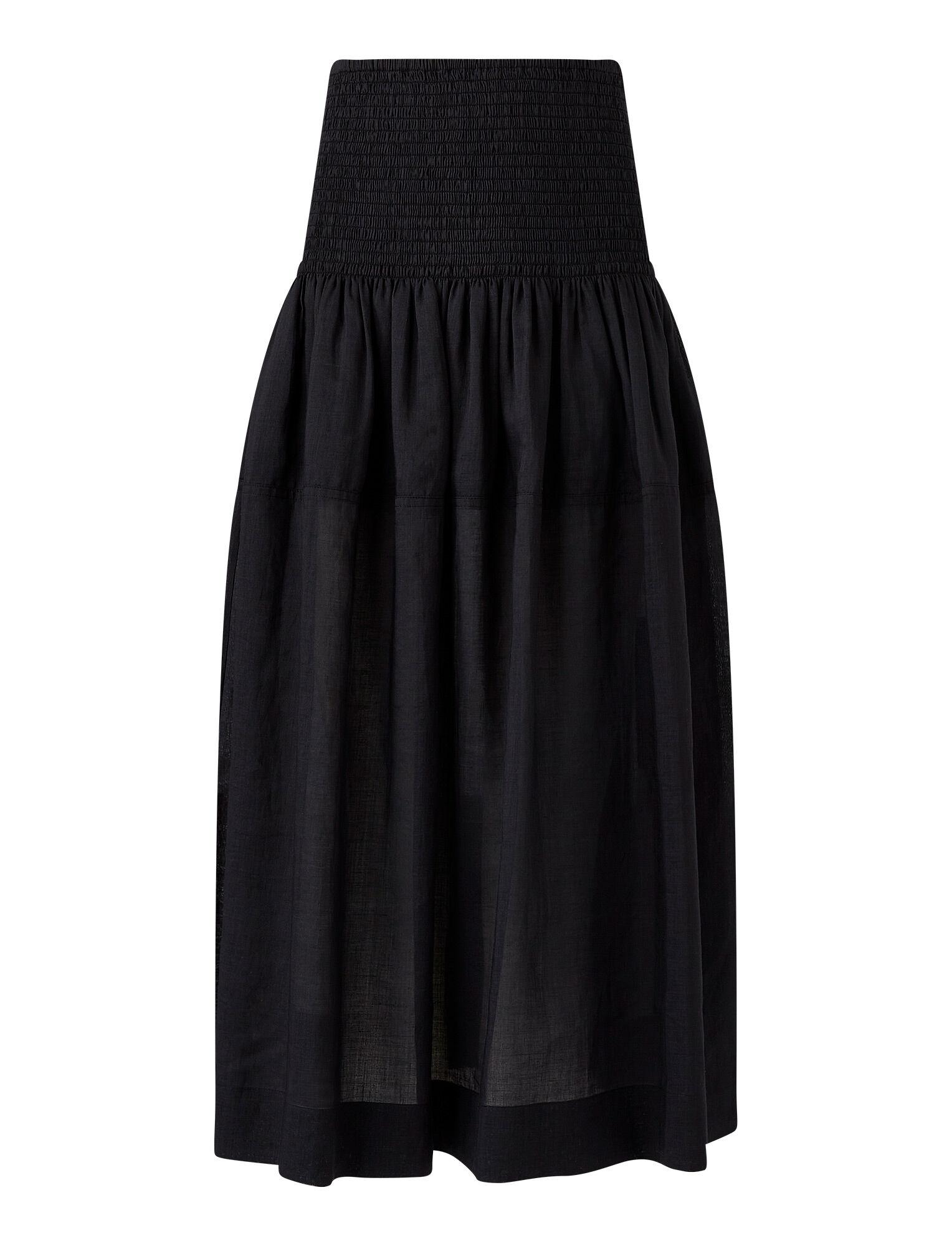 Joseph, Ramie Voile Senzo Skirt, in BLACK
