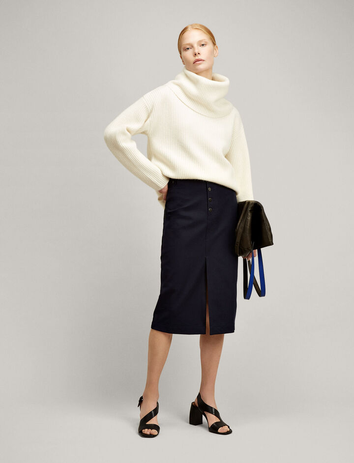 Joseph, Denna Gabardine Stretch Skirt, in NAVY
