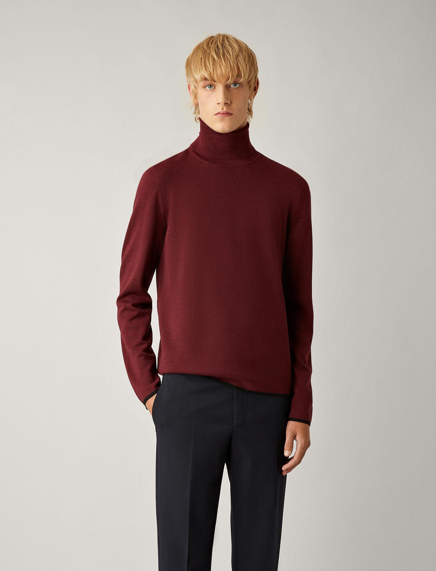 Joseph, Roll Neck Fine Milano Knit, in GARNET