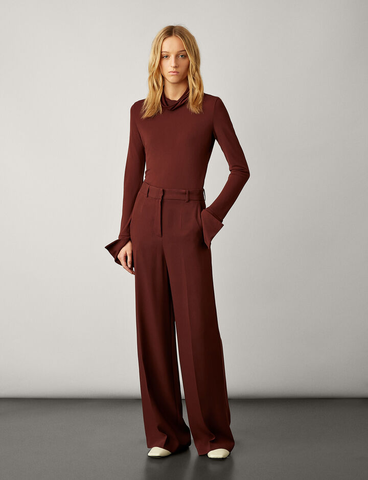 Joseph, High Neck Crepe Jersey, in MAROON