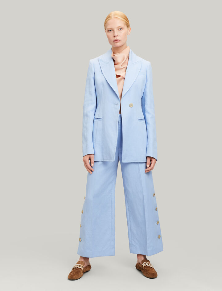 Joseph, Fade Ramie Cotton Trousers, in PERIWINKLE