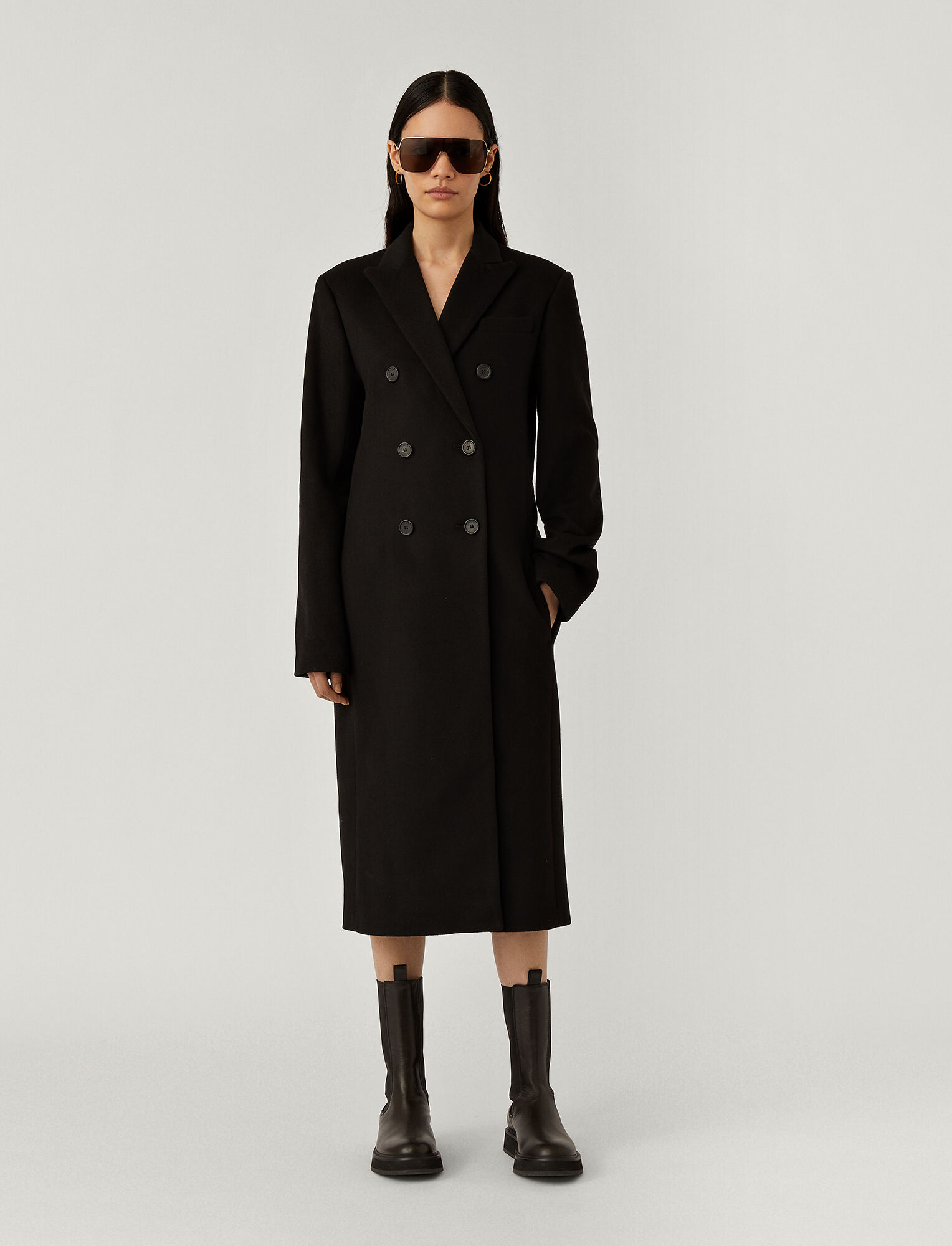 Joseph, Cam Wool Coating Coat, in Black