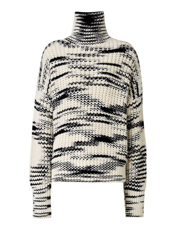Joseph, High Neck Print Half Cardigan Knit, in IVORY/BLACK
