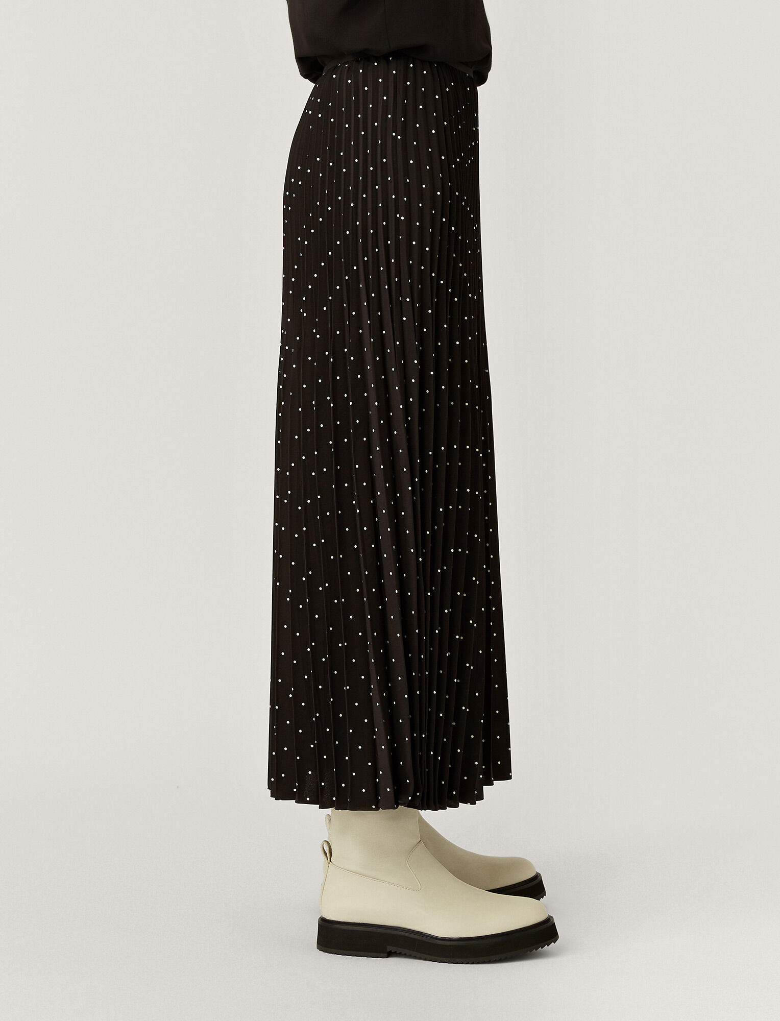 Joseph, Silk Polkadot Sorence Skirt, in BLACK/IVORY