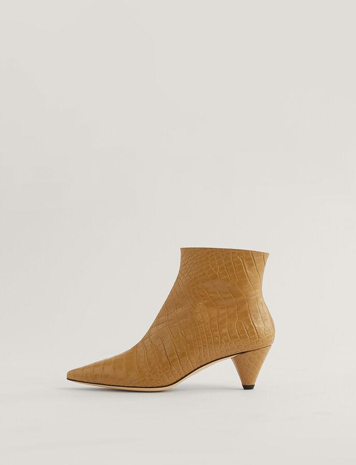Joseph, Cone Heel Ankle Boots, in Dijon