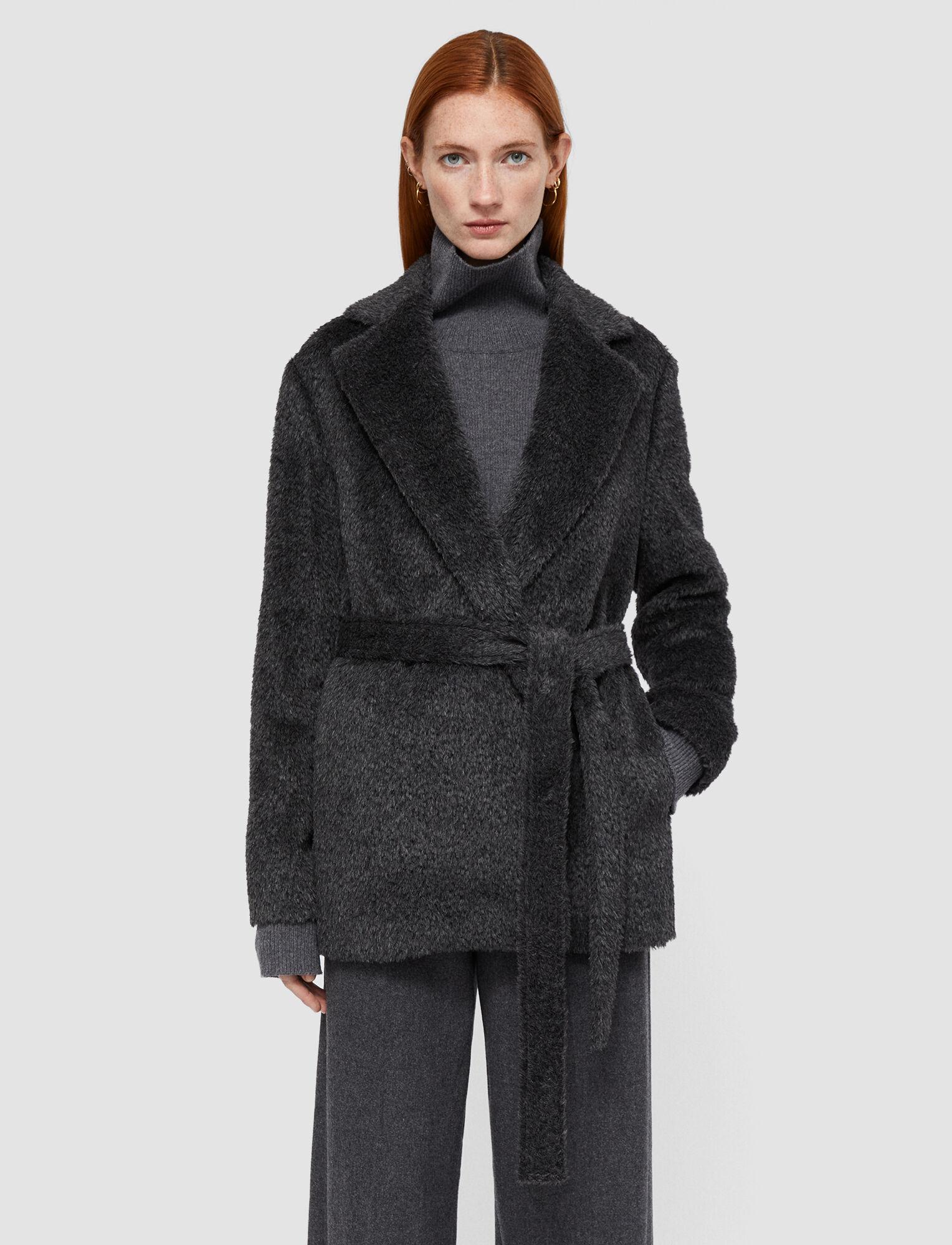 Joseph, Textured Wool Alpaca Cenda Coat, in Nickel