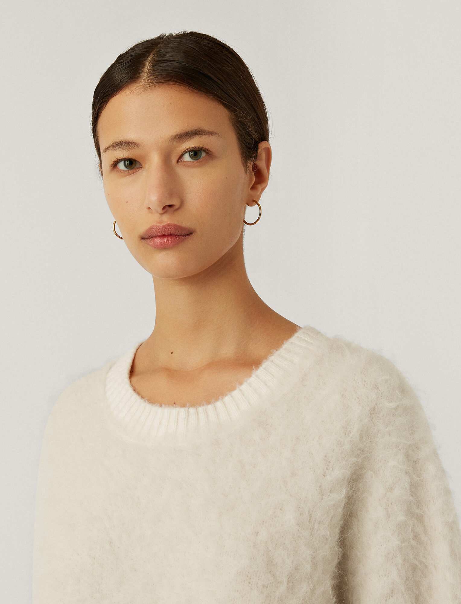 Joseph, Brushed Knit Jumper, in IVORY