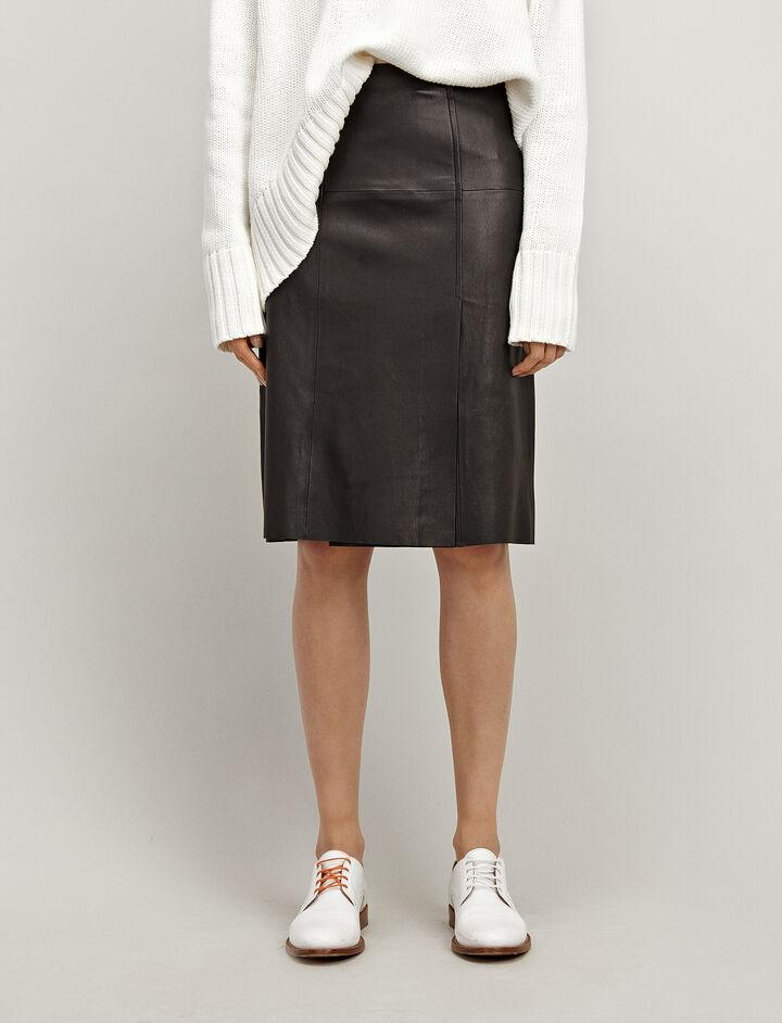 Joseph, Leather Stretch Evie Skirt, in BLACK