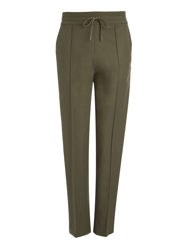 Joseph, Pantalon de tailleur Base en gabardine stretch, in ARMY/RED
