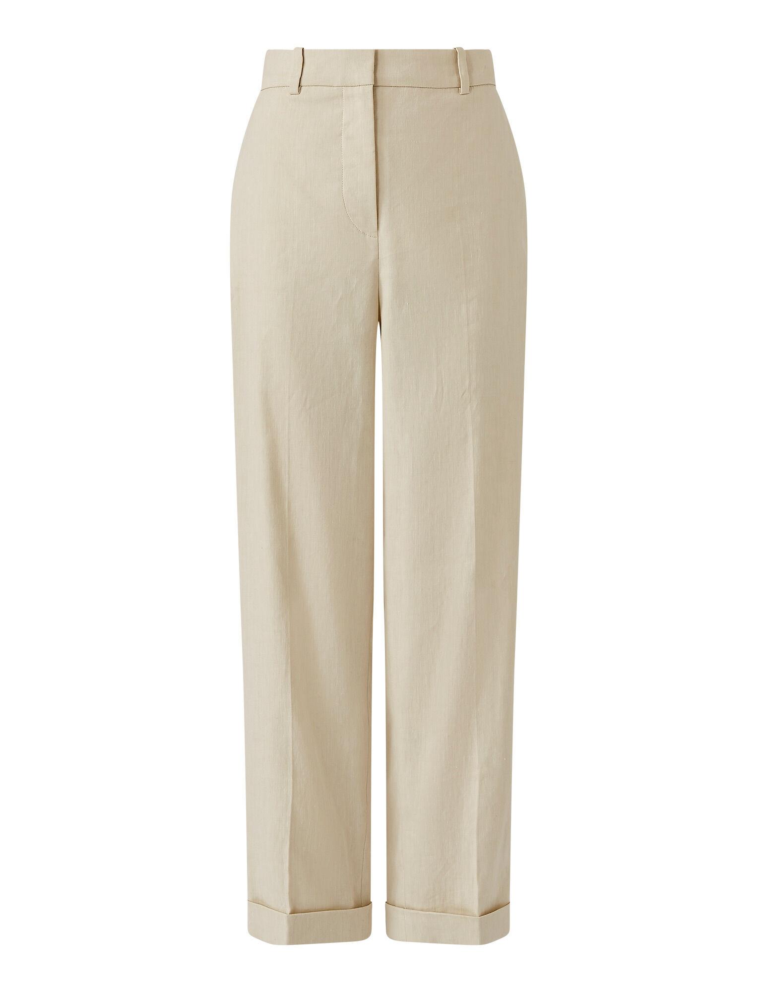 Joseph, Stretch Linen Cotton Trina Trousers, in OAT