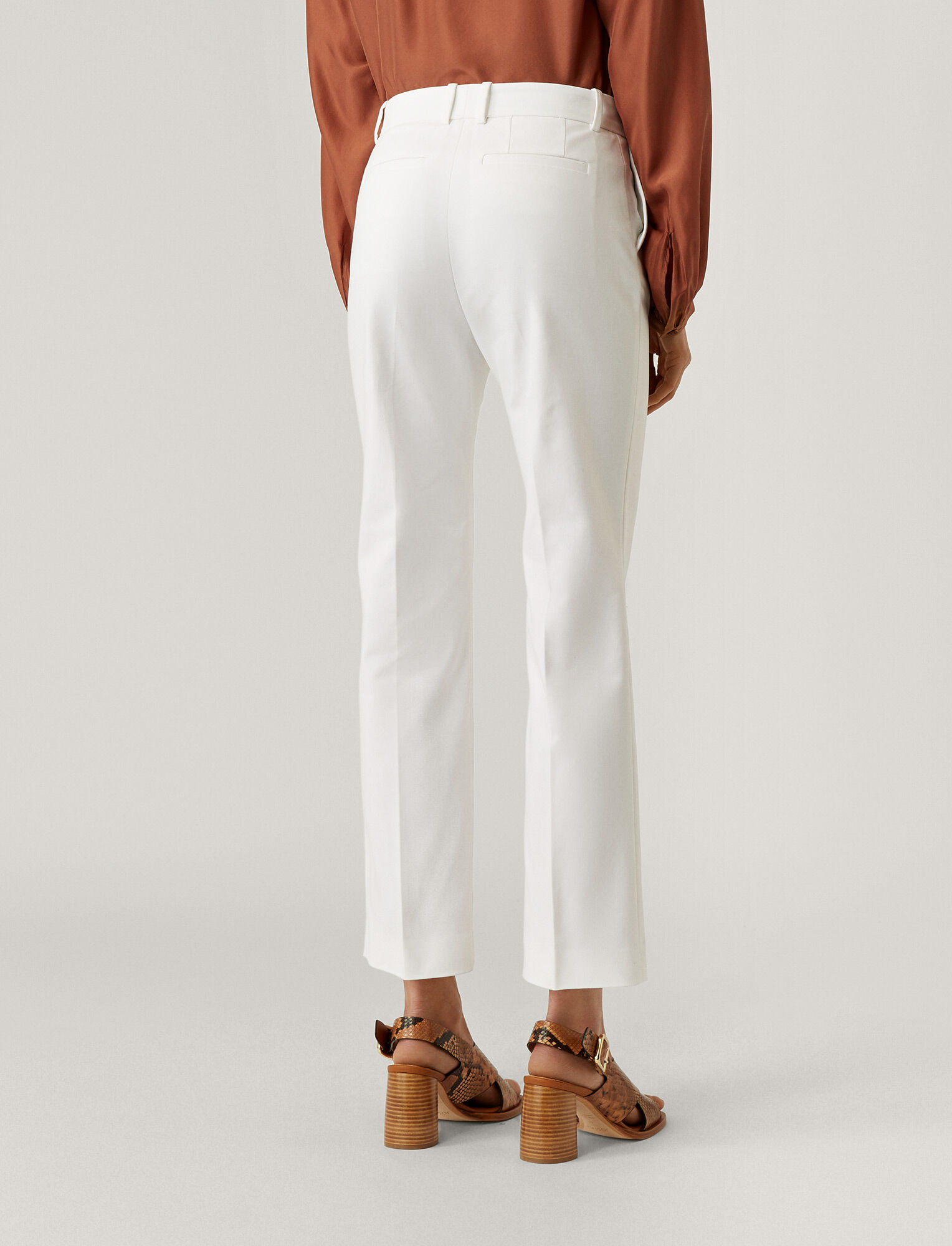 Joseph, Pantalon Coleman en double coton stretch, in WHITE