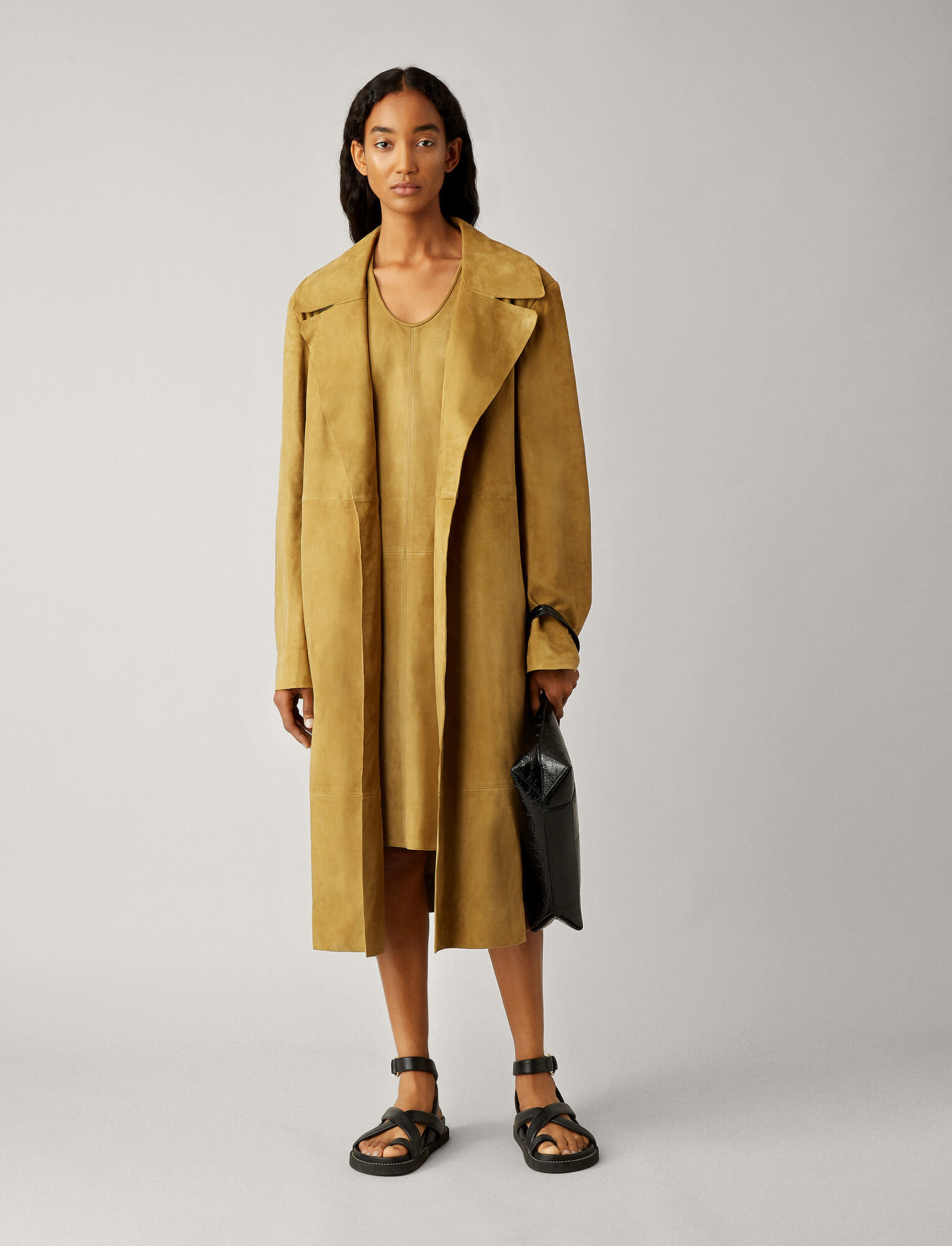Joseph, June Suede Coat, in KHAKI
