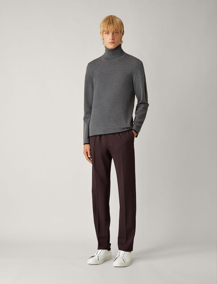Joseph, Ettrick Techno Wool Stretch Trousers, in BURGUNDY