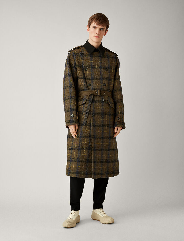 Joseph, Aytor Textured Macro Check Coat, in MILITARY