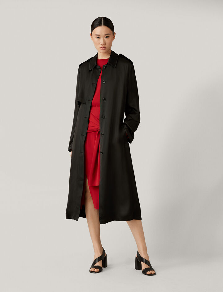 Joseph, Mercer Fluid Trench Coat, in BLACK