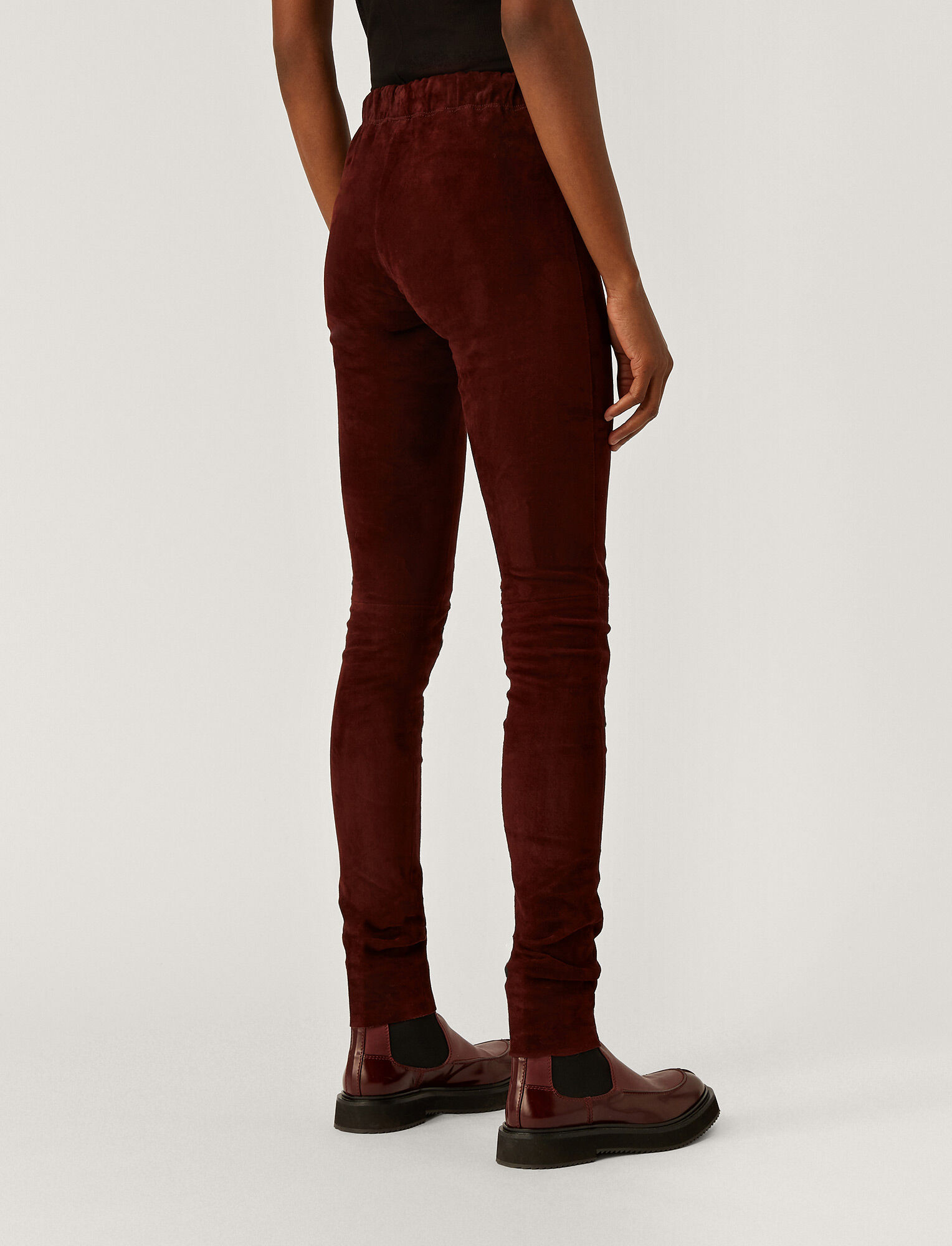 Joseph, Suede Stretch Legging, in Plum
