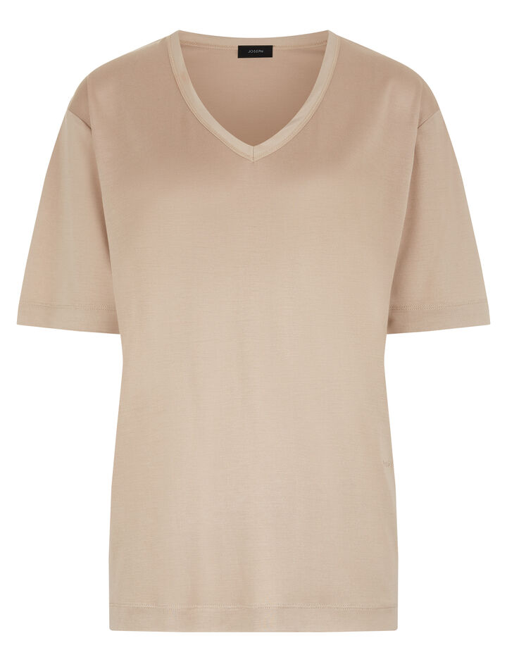 Joseph, V Neck Silk Jersey Tee, in COFFEE
