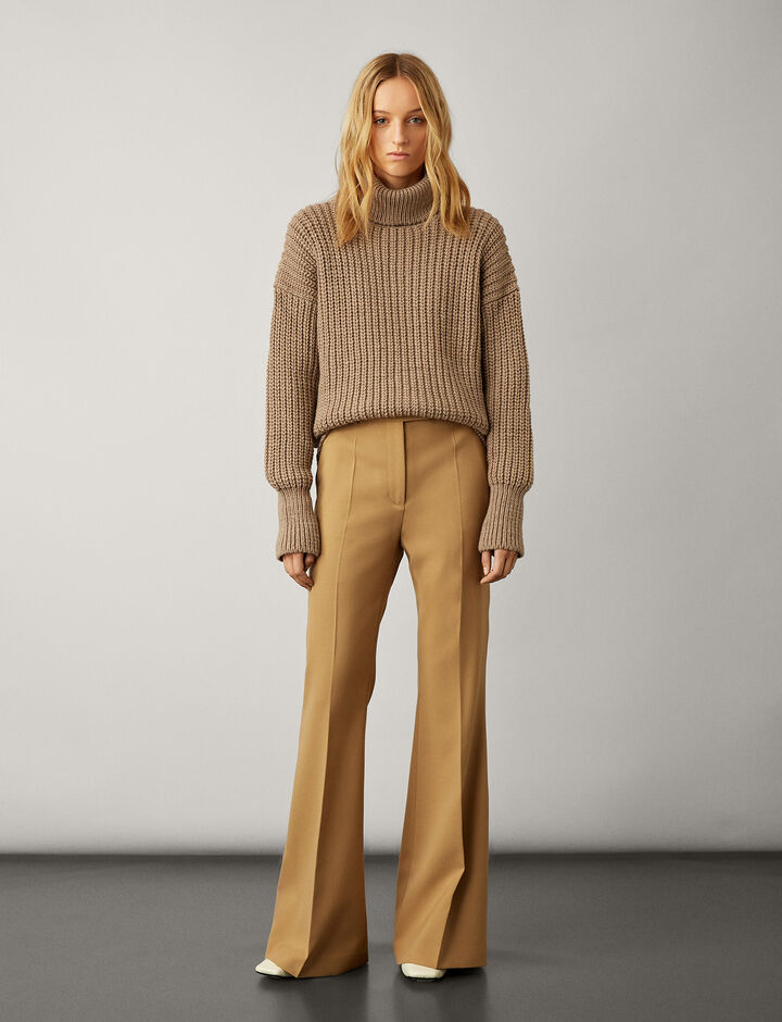 Joseph, High Neck Half Cardigan Knit, in CAMEL