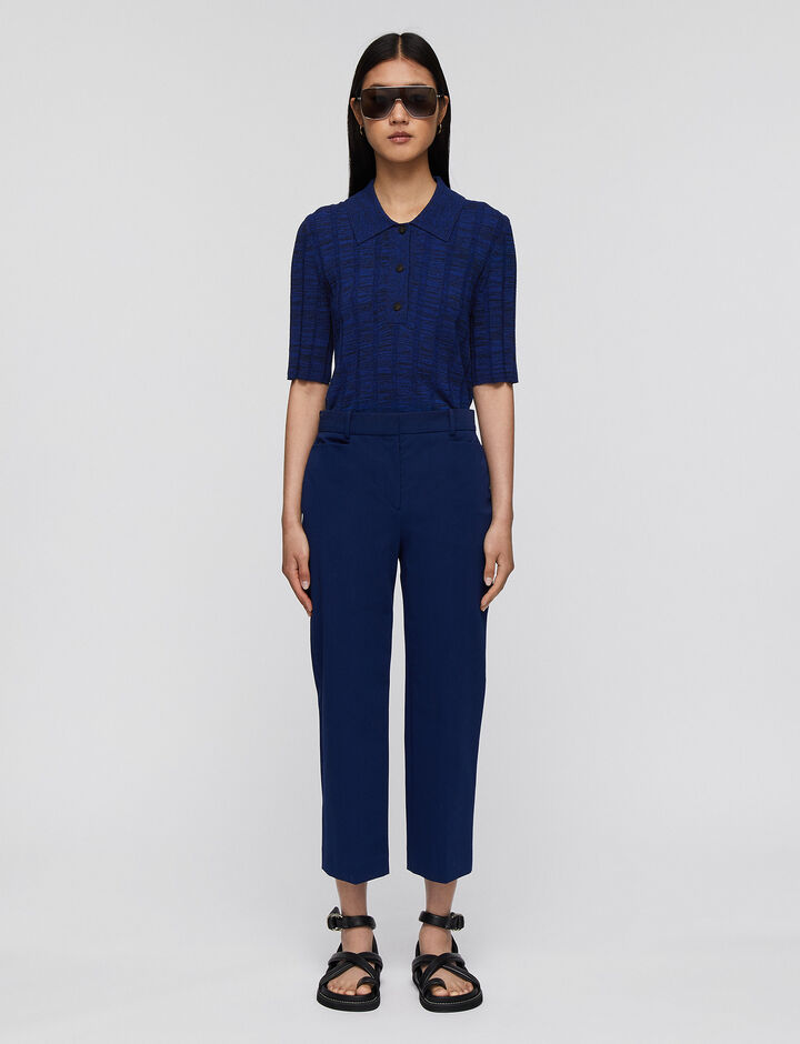 Joseph, Cotton Stretch Sloe Trousers, in COBALT BLUE