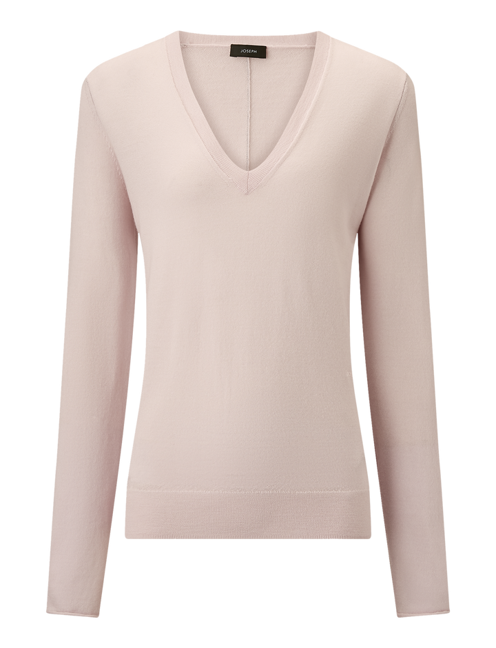 Joseph, V Neck Fine Merinos Knit, in PINK