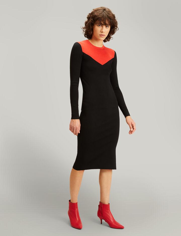 Joseph, Pencil Silk Stretch Skirt, in BLACK