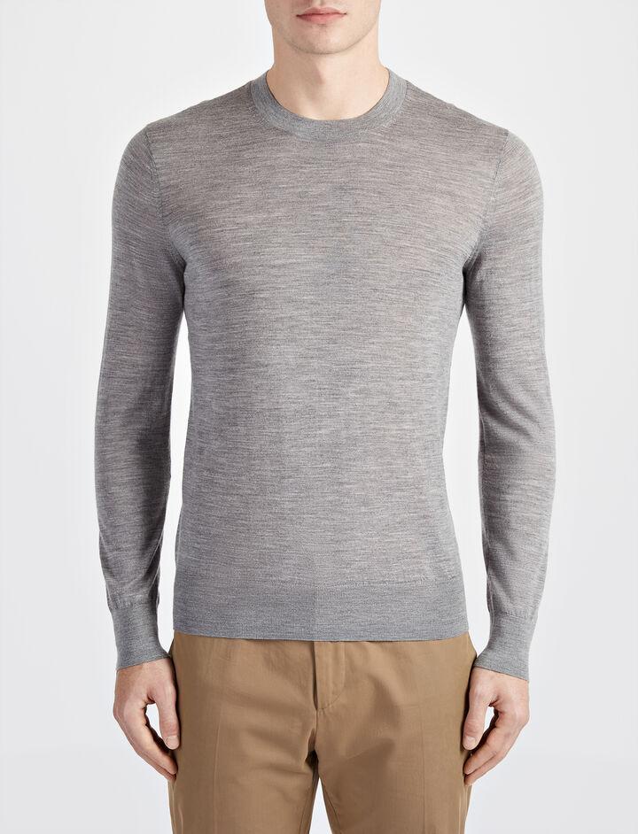 Joseph, Light Merinos Sweater, in GREY CHINE