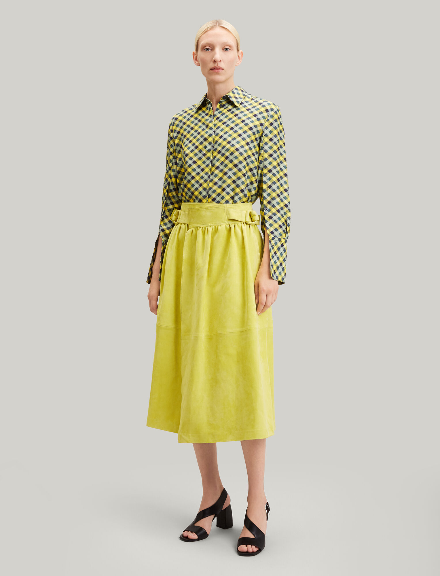 Joseph, Betty Suede Leather Skirt, in CHARTREUSE