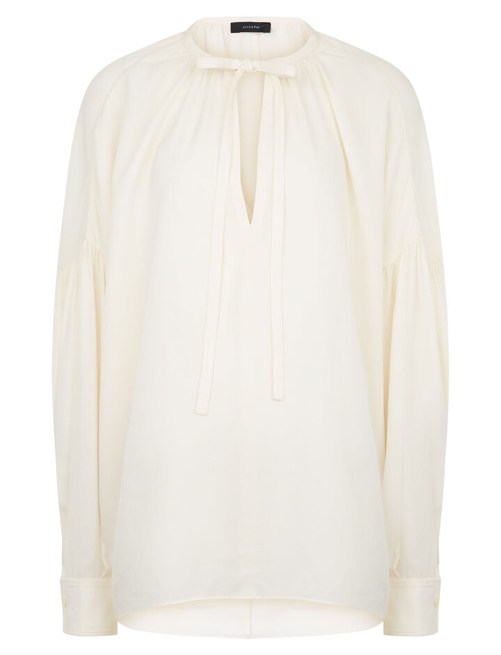 Joseph, Elijah Silk Georgette Blouse, in ECRU