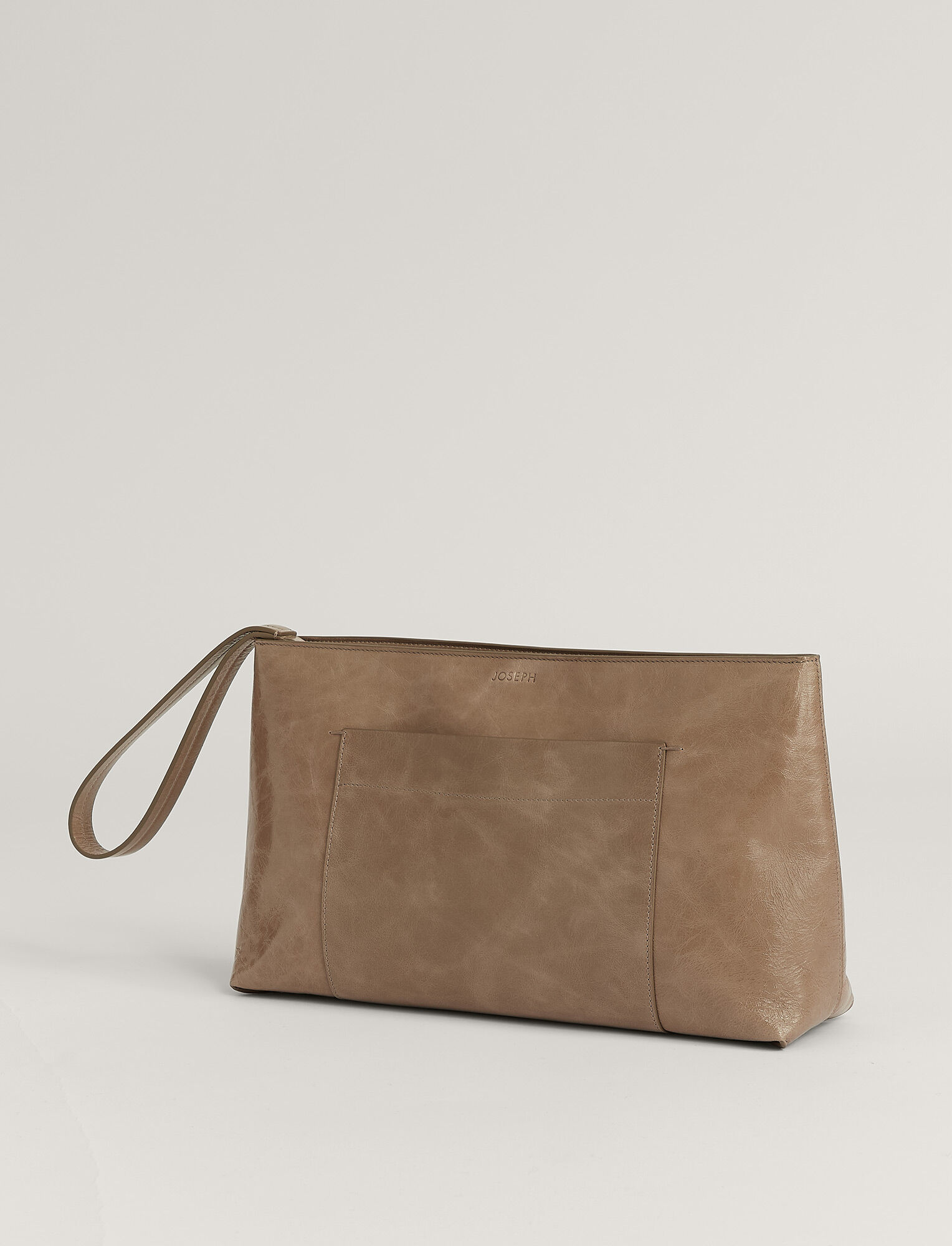 Joseph, Westbourne Clutch Leather Bag, in TAUPE