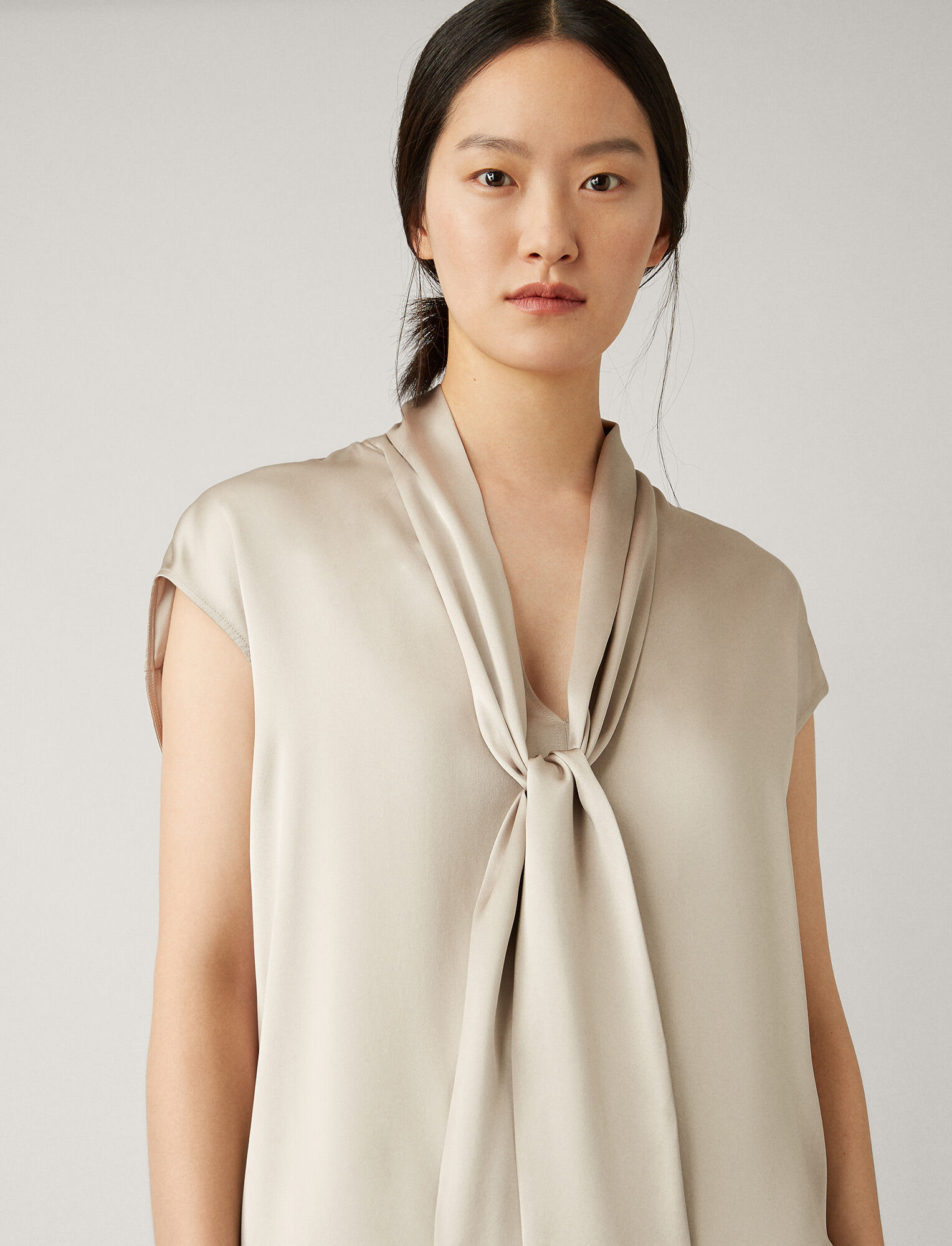 Joseph, Nancy Silk Satin Blouse, in QUARTZ