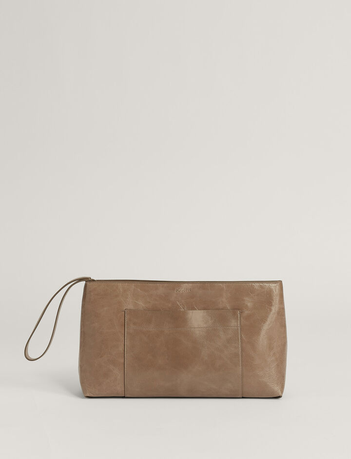 Joseph, Westbourne Clutch-Leather, in TAUPE