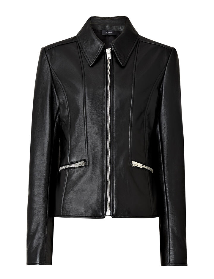 Joseph, Cadman Shiny Leather Jacket, in BLACK