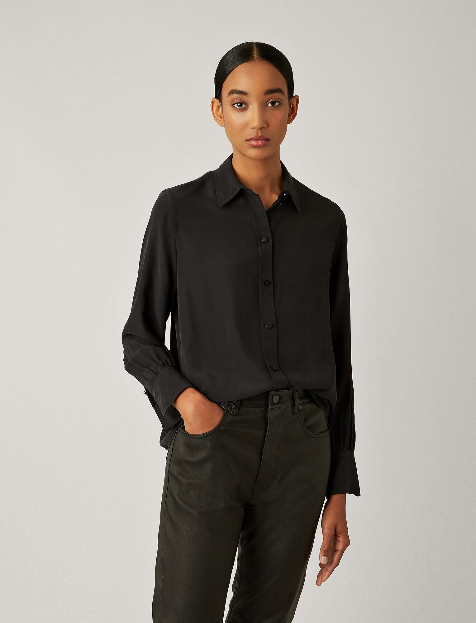 Joseph, Klein Silk Toile Blouse, in BLACK