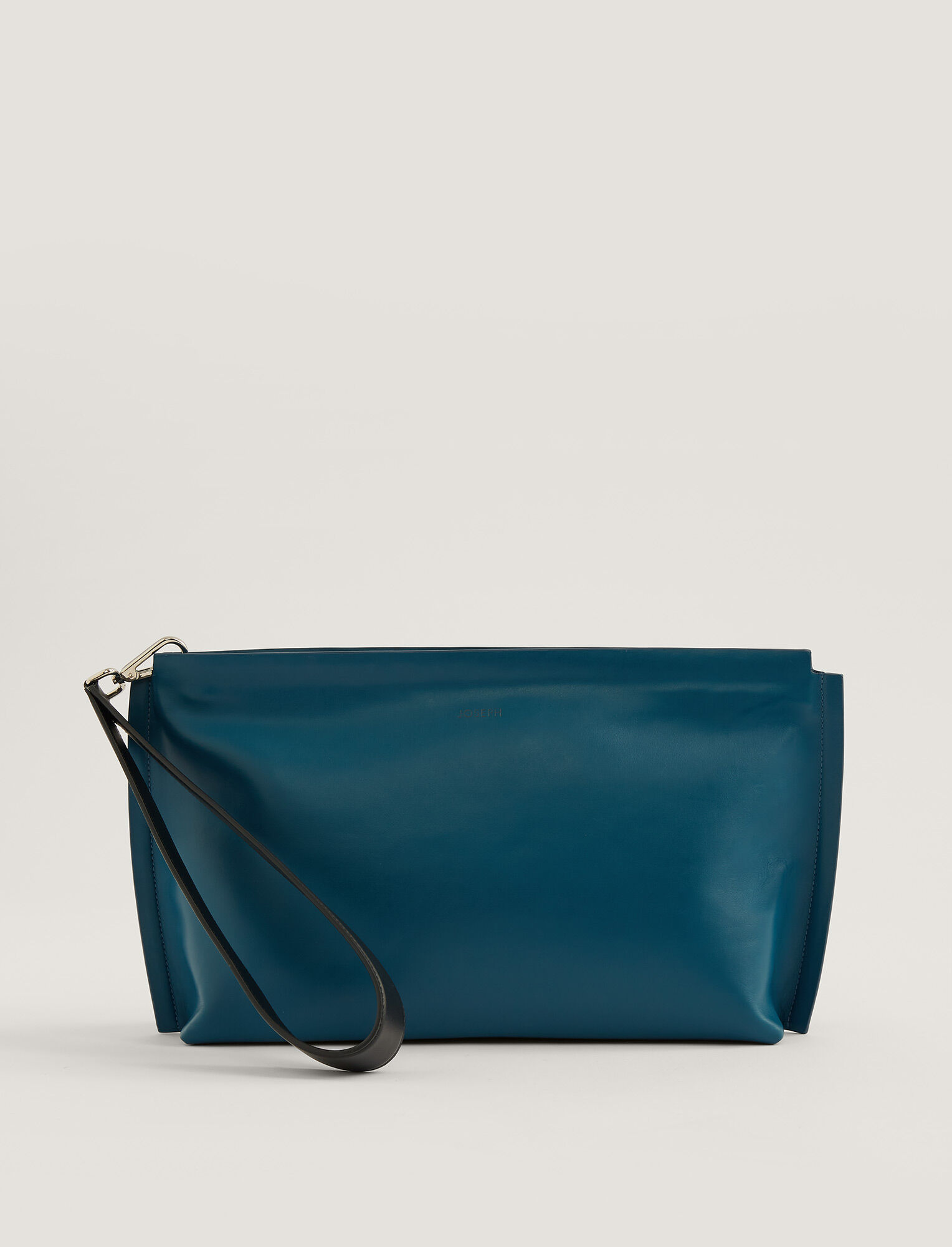 Joseph, Leather Clutch, in BLUE STEEL